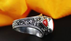 old rings silver images Handmade tibetan old silver red coral ring jpg