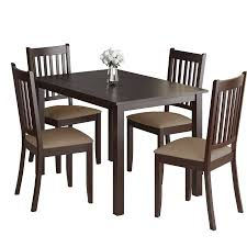 Microfiber Dining Room Chairs Corliving Atwood 5pc Dining Set With Beige Microfiber Seats