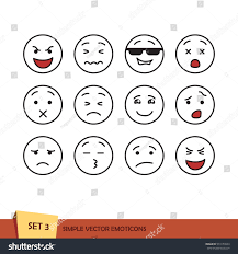 set outline emoticons isolated vector illustration stock vector