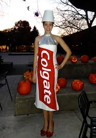 my toothpaste costume made without a pattern on a duct tape dress