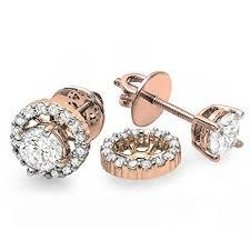 diamond earring studs 1 00 carat ctw 10k gold diamond halo stud