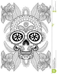 hand drawn artistic skull in flowers for coloring page stock