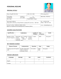 Simple Example Resume by 100 Curriculum Vitae Sample Format Malaysia Compudocs Us