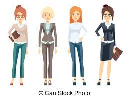 vector illustration of young professional confident people set