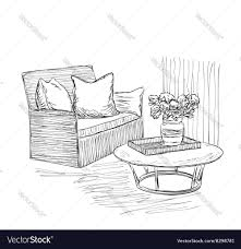 room interior sketch hand drawn chair and table vector image
