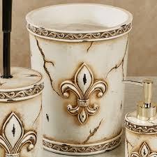 aged stone fleur de lis bath accessories