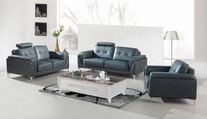 modern gray leather sofa set