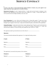 basic service contract service contract template free printable
