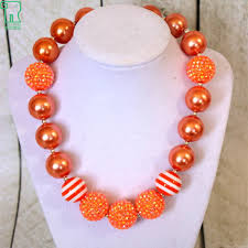 orange beaded necklace images Girls beaded bubblegum necklace 2015 kids orange rhinestone chunky jpg