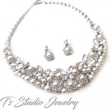 bridal set necklace earring images Statement bib pearl crystal bridal jewelry necklace earrings jewelry jpg
