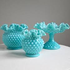 Large Round Glass Vase Turquoise Blue Hobnail Milk Glass Vase By Fenton Large 110 00