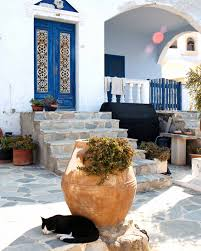 greece photography santorini photograph black cat print blue