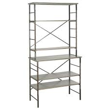 Contemporary Bakers Rack Narrow Single Shelving Caged Bakers Steel Framed Rack