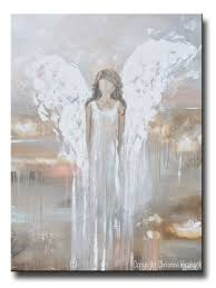 original abstract angel painting guardian angel heaven wall art