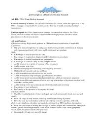 Medical Assistant Job Description For Resume by Job Description Office Nurse Medical Assistant