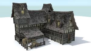 3d asset vr ar ready medieval town house cgtrader