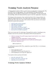 training needs analysis purpose performance appraisal needs
