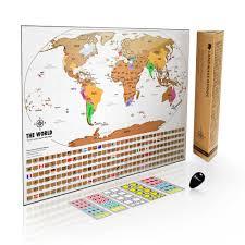 travel tracker images Landmass scratch off world map with flags 2018 jpg