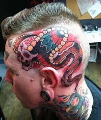 traditional snake skull tattoo on head tattoos book 65 000