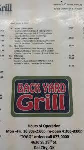 Backyard Restaurant Menu Menu At Backyard Gril 4630 Se 29th St Restaurant Prices