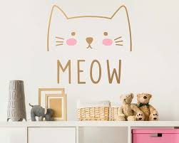 Removable Wall Decals For Nursery by Cat Wall Decal Cute Cat Decal Kids Wall Decal Nursery Decal