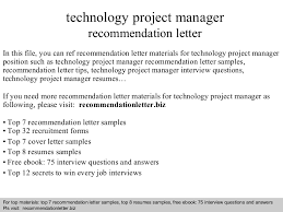Technical Project Manager Resume Examples by Technology Project Manager Recommendation Letter