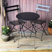 Black Bistro Table And Chairs Foldable Bistro Set Alessia Black 2 Person Steel Table Set For