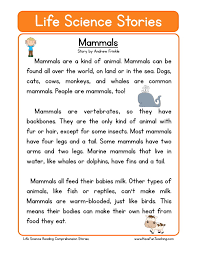 this reading comprehension worksheet mammals is for teaching