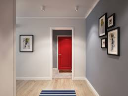 Scandinavian Homes Interiors Red Entrance Door Adds Color To The Sleek And Relaxing
