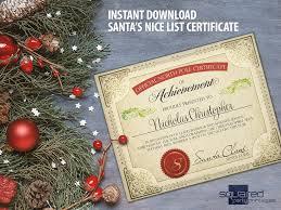 printable kids gift santa u0027s nice list certificate santa
