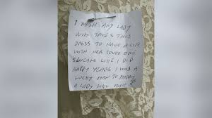 wedding dress donation charity shop finds mystery widower who pinned heartfelt note to