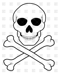 pirate skull and crossbones outline vector clipart image 64912