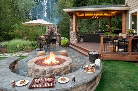 Patio Firepit Paver Patio Pit Retainer Wall Landscape Lighting