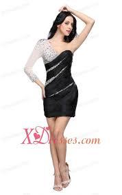 column black one shoulder long sleeves beading mini length prom