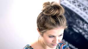 messy top knot for short medium hair tutorial milabu youtube