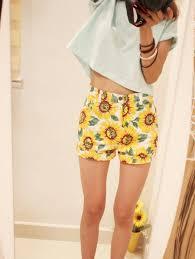 aa080 women sunflower print high waist denim short pant uk 4 6