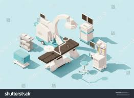 vector isometric low poly hospital operating stock vector