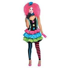 petite ladies cool neon clown circus fancy dress party halloween