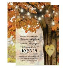 rustic fall autumn tree twinkle lights wedding card zazzle com
