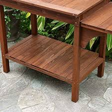 Wooden Table Plans Amazon Com Garden Potting Bench With Storage Shelf Wood Outdoor