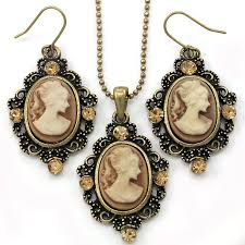 cameo necklace pendant images Brown cameo necklace fashion jewelry set pendant charm jpg