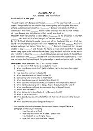 themes of macbeth act 2 scene 1 macbeth worksheet act 2