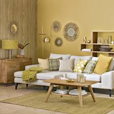yellow livingroom honeycomb yellow living room with sunburst shades neutral tones