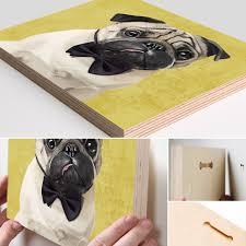 pug home decor wood art block print pug portrait carlin portrait wood block