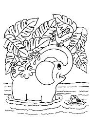Coloriage Éléphant joue dans leau dessin gratuit à imprimer