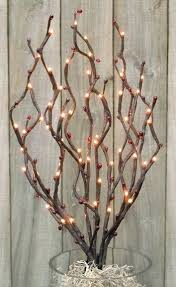 decorative branches with lights decorating with branches and twigs berry light spray electric 3 4