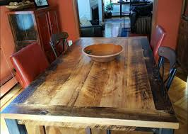 this skip planed hemlock farm table looks perfectly at home in its