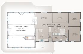 floor plans with great rooms great room addition plan post and beam addition barn style