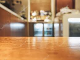 Counter Bar Top Table Top Counter Bar With Blurred Interior Background U2014 Stock