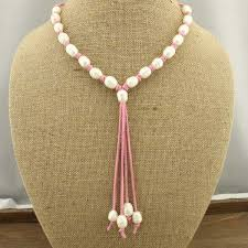 pink leather necklace images 11 12mm rice parels necklace women leather necklace white plearl jpg
